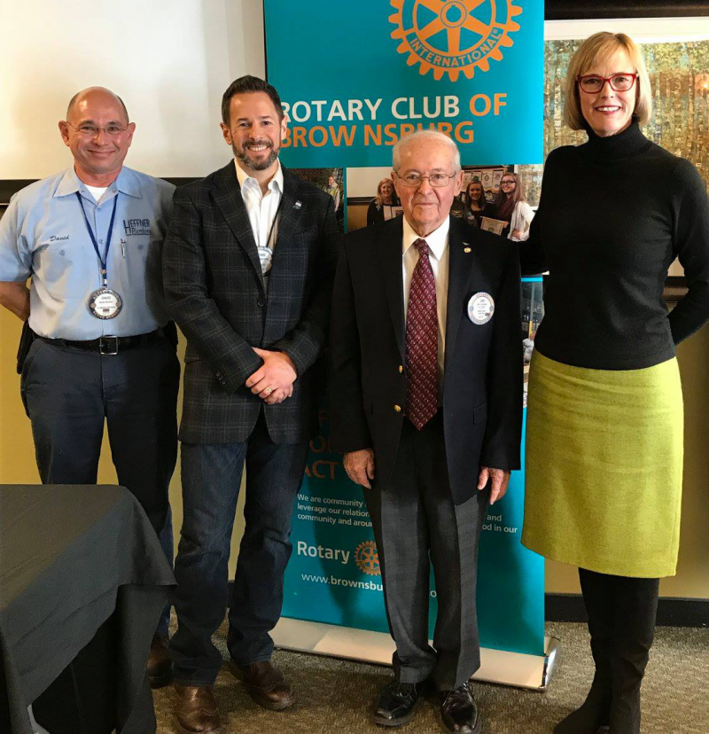 Brownsburg Rotary members David Heffner, Club President Ryan Morrison, and Jim Graham along with Indiana Lt. Governor Suzanne Crouch December 14, 2017