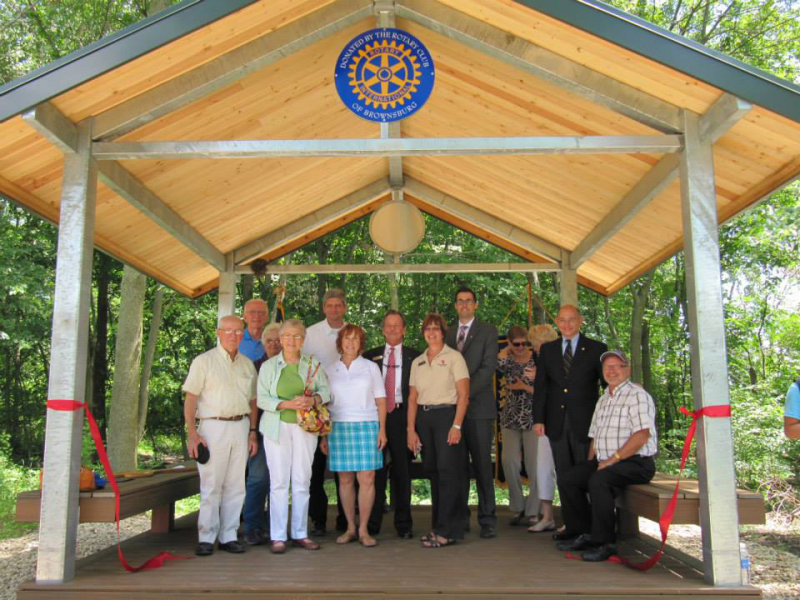 Ribbon cutting of the B&O Trail Head sponsored by Brownsburg Rotary