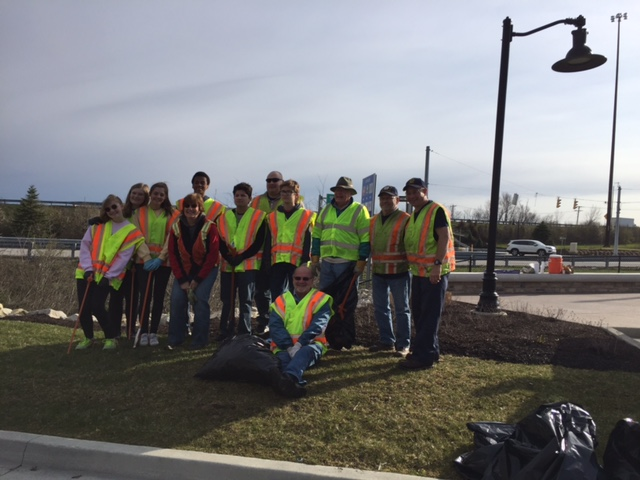 Brownsburg Rotary and Interact Members combined efforts for the Hendricks County Cleanup day along 267 (Green Street)